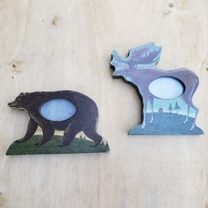 Other - Lot of 2 small picture frames bear and moose.